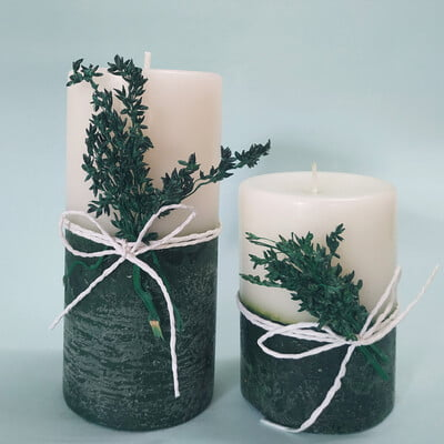 Christmas Themed Pillar Candle White and Green